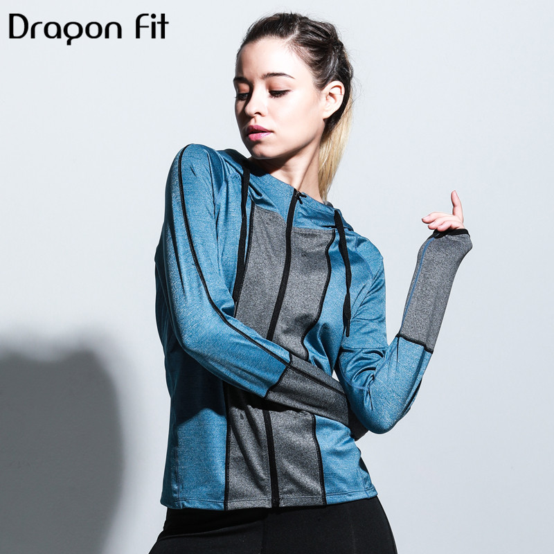Running Strong-Willed Dragon Fit Patchwork Hoodies Elastic Outerwear Women Zipper Cardigan Comfortable Fitness Outerwear Running Sport Sportswear To Rank First Among Similar Products