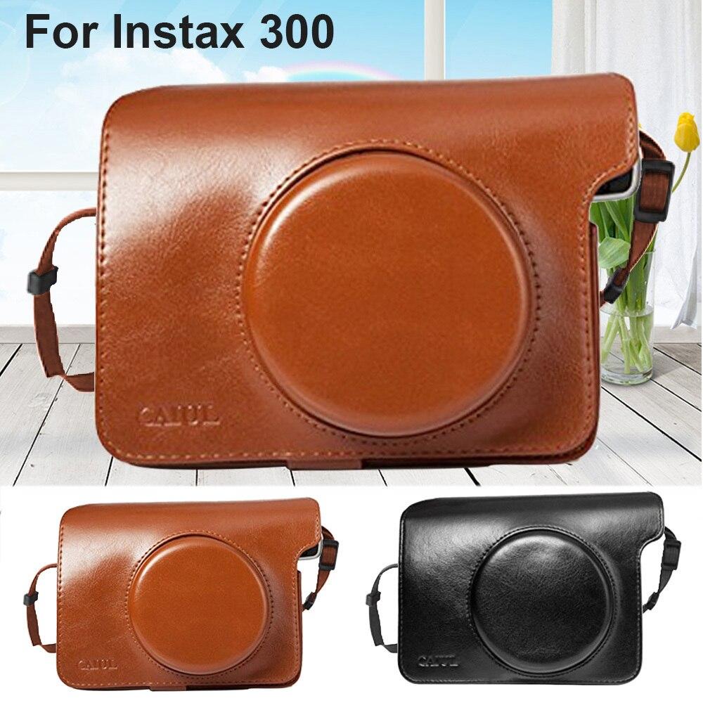 Funda de cuero PU funda protectora de la bolsa/correa de hombro negro o marrón para Fujifilm Instax Wide 300 cámara de impresión instantánea