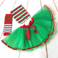 Free Shipping Wholesale Green With Red Kid Christmas Clothes Set Baby Girls Princess Ribbon Tutu Dress