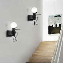 Luz de pared Vintage Industrial Robot pared luces Sconce lámpara accesorios de luz para chico infantil lámpara de pared creativa wandlamp(China)