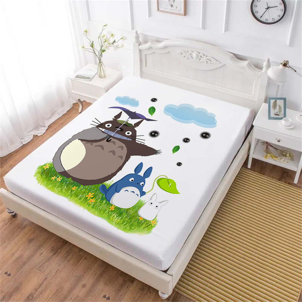 Kids Cartoon Bed Sheets Cute Totoro Fitted Sheet Green Natural ... 7dfd92545