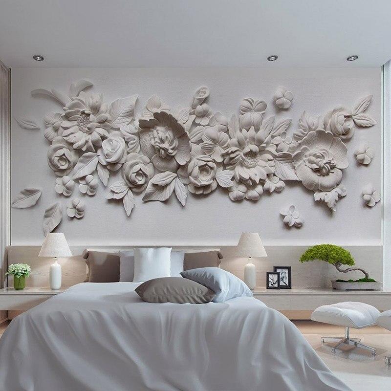 3D Stereo Relief Flowers Photo Mural Wallpaper European Style Bedroom Living Room Simple Design Wallpaper Papel De Parede Floral