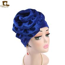 New Velvet Big Flower Turban Women Headbands Muslim Islamic Hair Loss Cap Turbante Elegant Ladies Party accessories