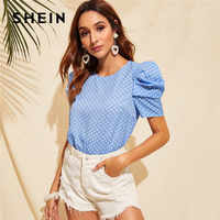 SHEIN Keyhole Back Puff Sleeve Polka Dot Summer Blouse Women Clothes 2019 Casual Round Neck Short Sleeve Ladies Tops