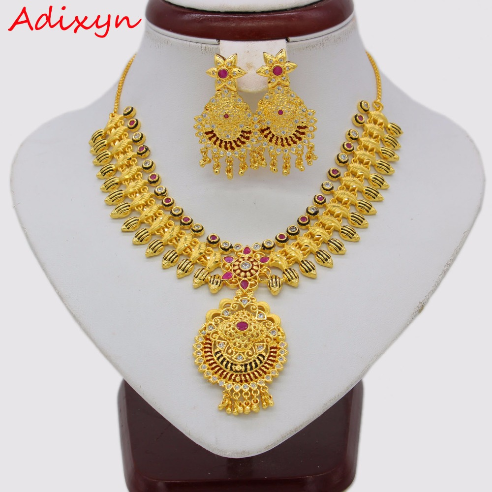 Adixyn African Red Corundum Necklace/ Drop Earrings Jewelry Set For Women Gold Color Cubic Zirconia Ethiopian Arabic India Items adixyn dubai gold bangles fashion jewelry for women men gold color bangles bracelets african india middle east items free box
