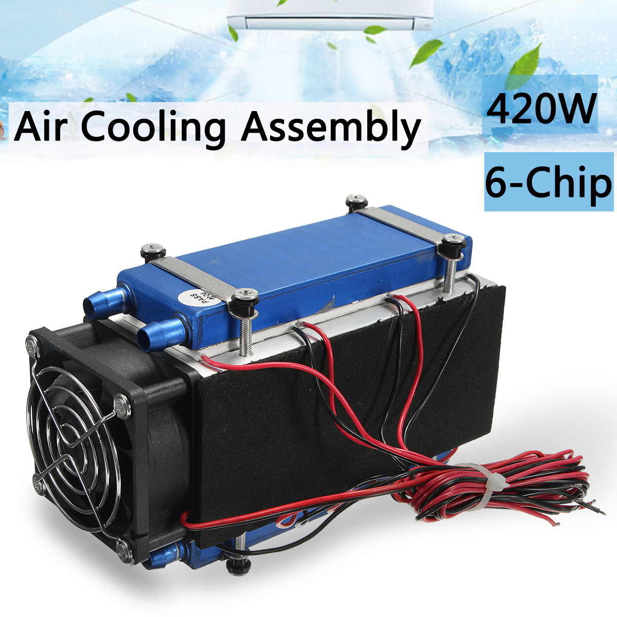 DIY 12V 420W 6-Chip Semiconductor Refrigeration Cooling Device Thermoelectric Cooler Air Conditioning High Cooling Efficiency c1204 4p1540 15 20 30 40mm 12v 4a 48w 4 layer semiconductor cooler 4 layer semiconductor subzero freezing thermoelectric cooler