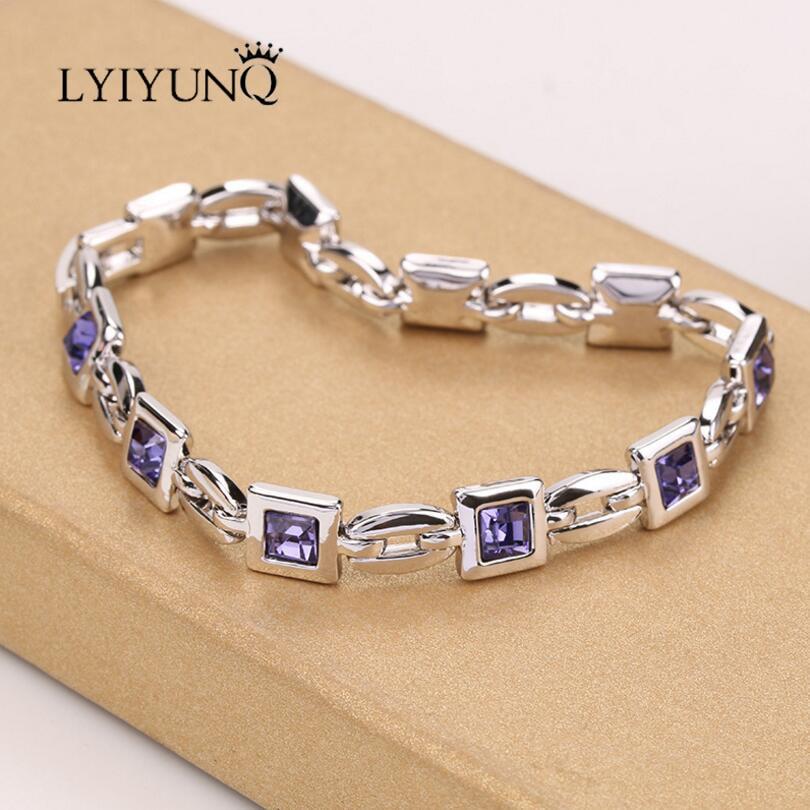LYIYUNQ Geometric Bracelets & Bangles For Women Fashion Romantic Square Crystal Charm Bracelet Trendy Rhinestone Wedding Jewelry
