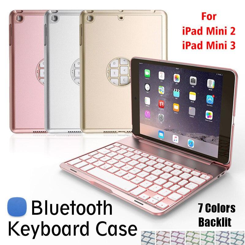 Mini tablette clavier étui avec 7 couleur rétro-éclairé anti-poussière en aluminium bluetooth clavier béquille couverture pour Apple pour iPad Mini 2/3