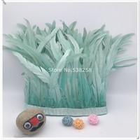 New light blue 2m/lot 12 14inches 30 35cm height Coque Tail Fringes Rooster feather trim rooster tail trimming ribbon