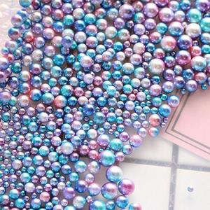 Image 2 - 250pcs Plastic Gradient Pearls DIY Wedding Party Supplies Manicure Pearls Mermaid Party Necklace Jewelry Earring Pendant Decor