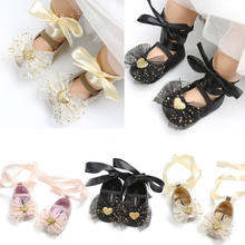 2018 Brand New Lovely Toddler Newborn Baby Girls Boys Shoes Crib Shoes Sequined Bow Floral Slip On Lace Belt Baby Shoes 0-18M(China)