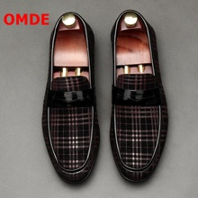 OMDE New Arrival Cow Suede Loafers Fashion Business Casual Leather Shoes Men Mocassin Homme Slip On Mens Dress