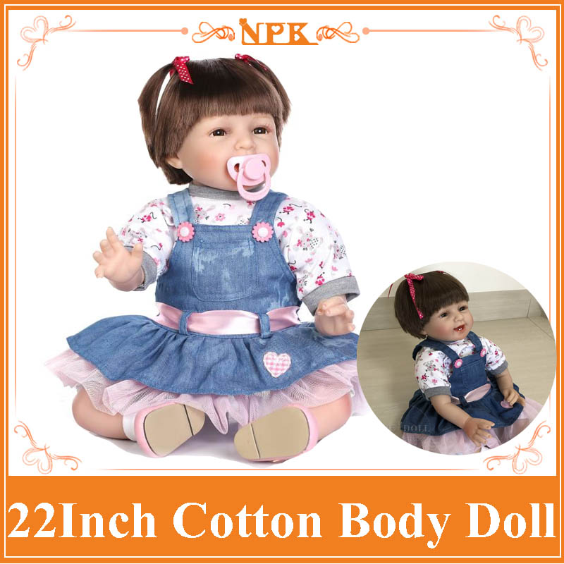 22 Inch Brown&Blue Eyes Silicone Reborn Baby Dolls With Magnetic Pacifier Realistic Princess Newborn Babies Toys For Girls Gift
