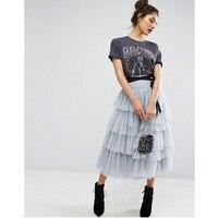 Szary Kobiet Spódnice Tiulowe stosu-up Spódnica Plisowana Wielowarstwowa Zipper Talia Midi Saias Saia feminina Nowy Projekt Tulle Skirt