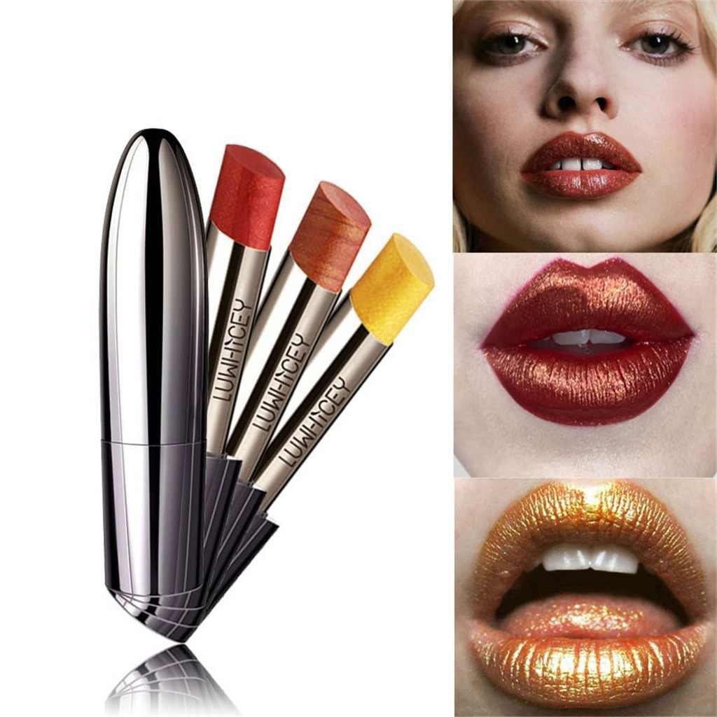 Pintalabios impermeable bala chapada en oro perla de cabeza lápiz labial sirena Ji brillante lápiz labial metalizado maquillajes para mujer +