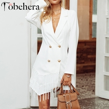 Glamaker Tassel sexy white blazers suit Women casual v neck fringe blazers dress spring long sleeve office ladies coat suit 2018