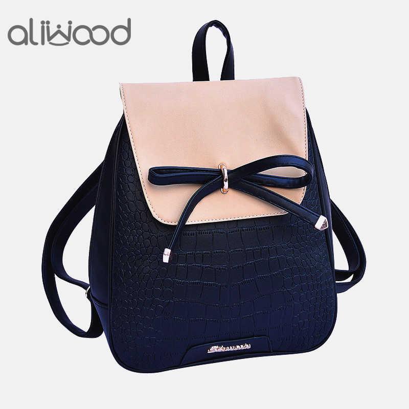 882ced410a13 aliwood Alligator Crocodile Leather Women Backpack College School bag Bow  Female Backpack for adolescent Girls Mochila