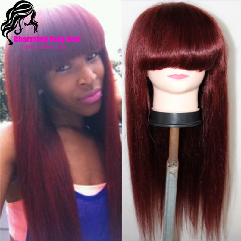 Red 99j Wigs Silk Straight Burgundy Lace Front Wig 100
