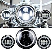 Белый Угол Глаз Набор 7 «Круглый Daymaker СВЕТОДИОДНЫЙ Проектор Фара + 4.5 Дюймов Пятно Туман Ближний Свет Фар для Harley