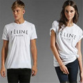 Oversized Summer Ctton Feline Letter Printed Fashion Casual Female T-Shirt Black And White Couple Clothes