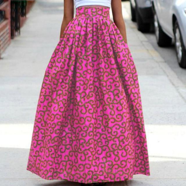 27b3a96c71d 2018 New Women Long Skirt Fashion Bohemian Big Swing African Print dashiki  Skirts Casual Elastic Waist Maxi Floor Length Skirt