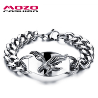 2016 New Fashion Men Bracelets Eagle Design Stainless Steel Bracelet Chain Punk Rock Jewelry Accessories Homens