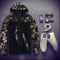 Free shipping plus size spring and autumn military men fat clothing 7xl 8xl top Camouflage outerwear thin Hooded jacket trench