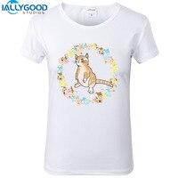 Yeni Yaz Moda Komik Süt Kedi T Shirt Kadın Serin kedi Baskılı Sanat T-Shirt Kısa Kollu Yumuşak Pamuk Beyaz Tops S1442