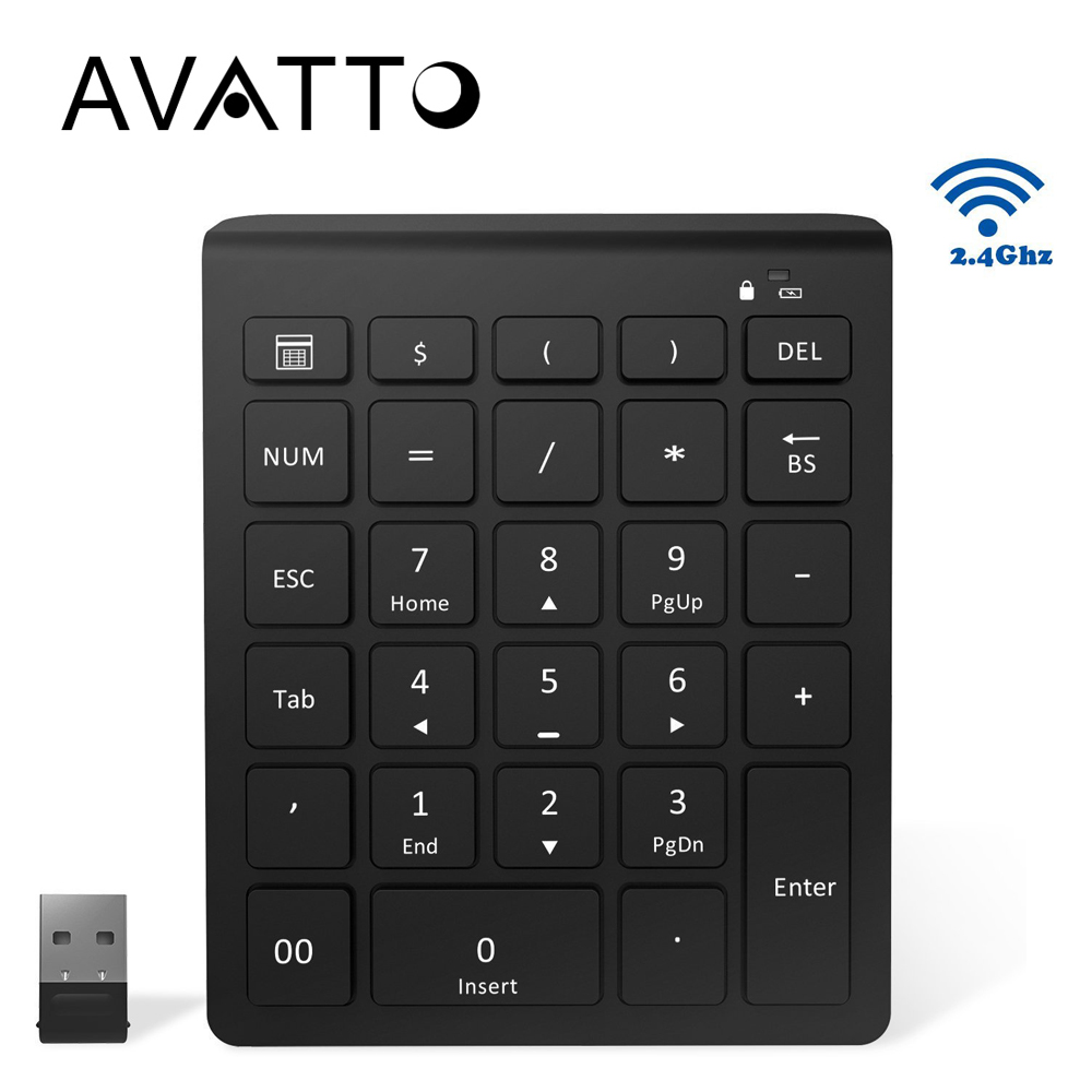 AVATTO Ultra Slim 28 Keys 2.4G Wireless Numeric Keypad Number Pad with Scissor-Switch Digtal Keyboard for PC Surface Pro Tablet