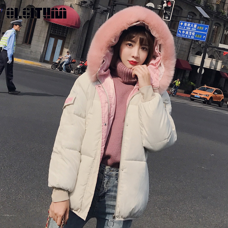 New Winter Jacket Women 2018 Fashion Fake Fox Fur Collar Slim Winter Coat Female Thicken   Parka   Down Cotton Coat Outwear Mujer