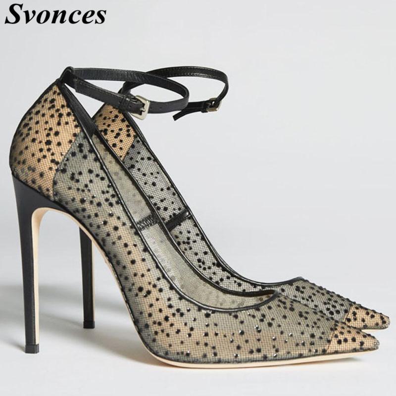 Chic Black Lace Mesh High Heels Pumps Classy Women Rhinestones Pointy  Stiletto Heel Pumps Fashion Ankle 36a15da368b3