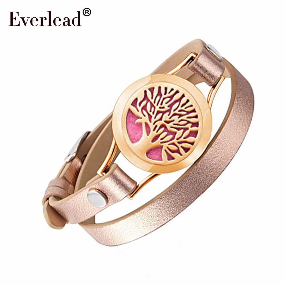 EVERLEAD Wrap Bracelets for Women Rose Gold Color tree of life leather locket bracelet aromatherapy perfume diffuser bangle