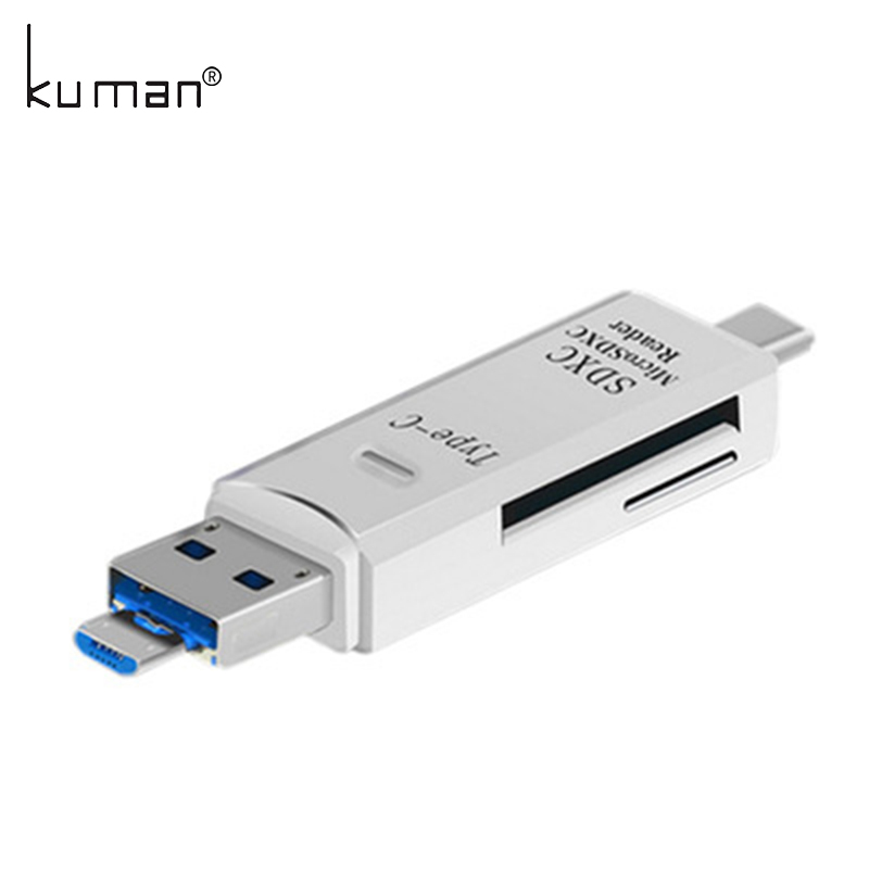 Kuman 2.0 OTG Card Reader USB MicroUSB TypeC Interface with Micro SD TF SD Card Slot Flash Memory Card Reader for Phone Y210 universal card reader phone pc smart card reader micro usb card reader flash otg tf sd memory 2 in 1 dual card reader