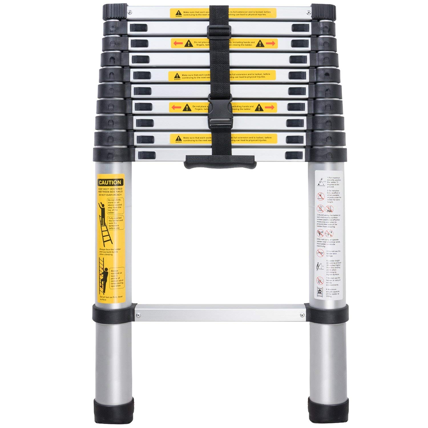 Telescopic Ladder EN131 10.5ft(3.2m)Aluminum Telescopic Extension Tall Multi Purpose Telescopic Ladder