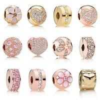 925 Silver Charm Rose Gold/Vàng Flowers Love Heart Pha Lê Clips Fit Pandora Charm Bracelet và Vòng Đeo Tay Phụ Nữ Diy đồ trang sức