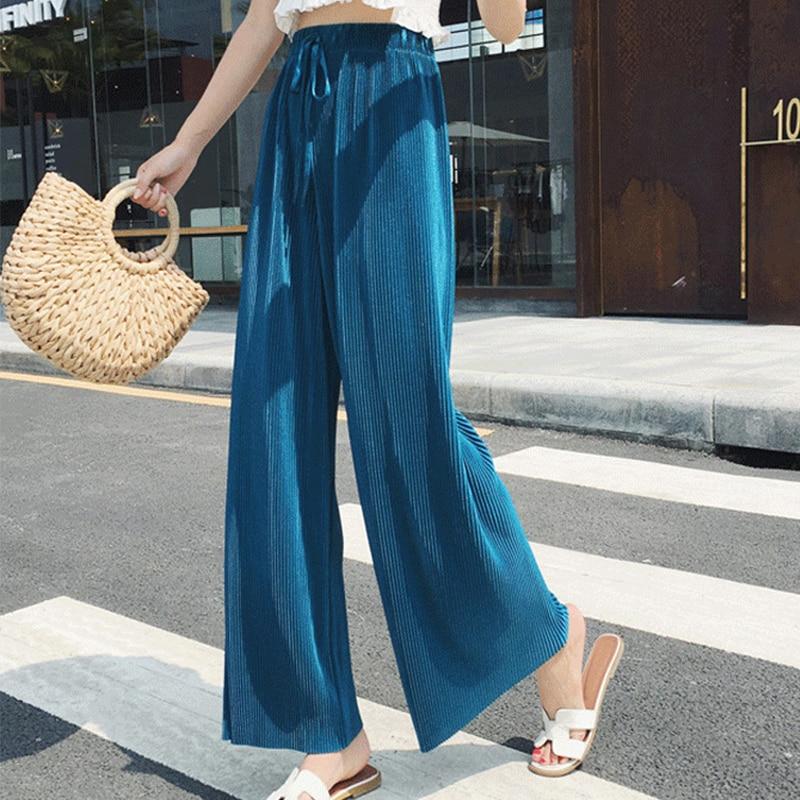 High Waist Women's Trousers Summer 2019 New Pleated Solid Color Nine Points   Wide     Leg     Pants   Women Casual Belt Belt   Pants   Women