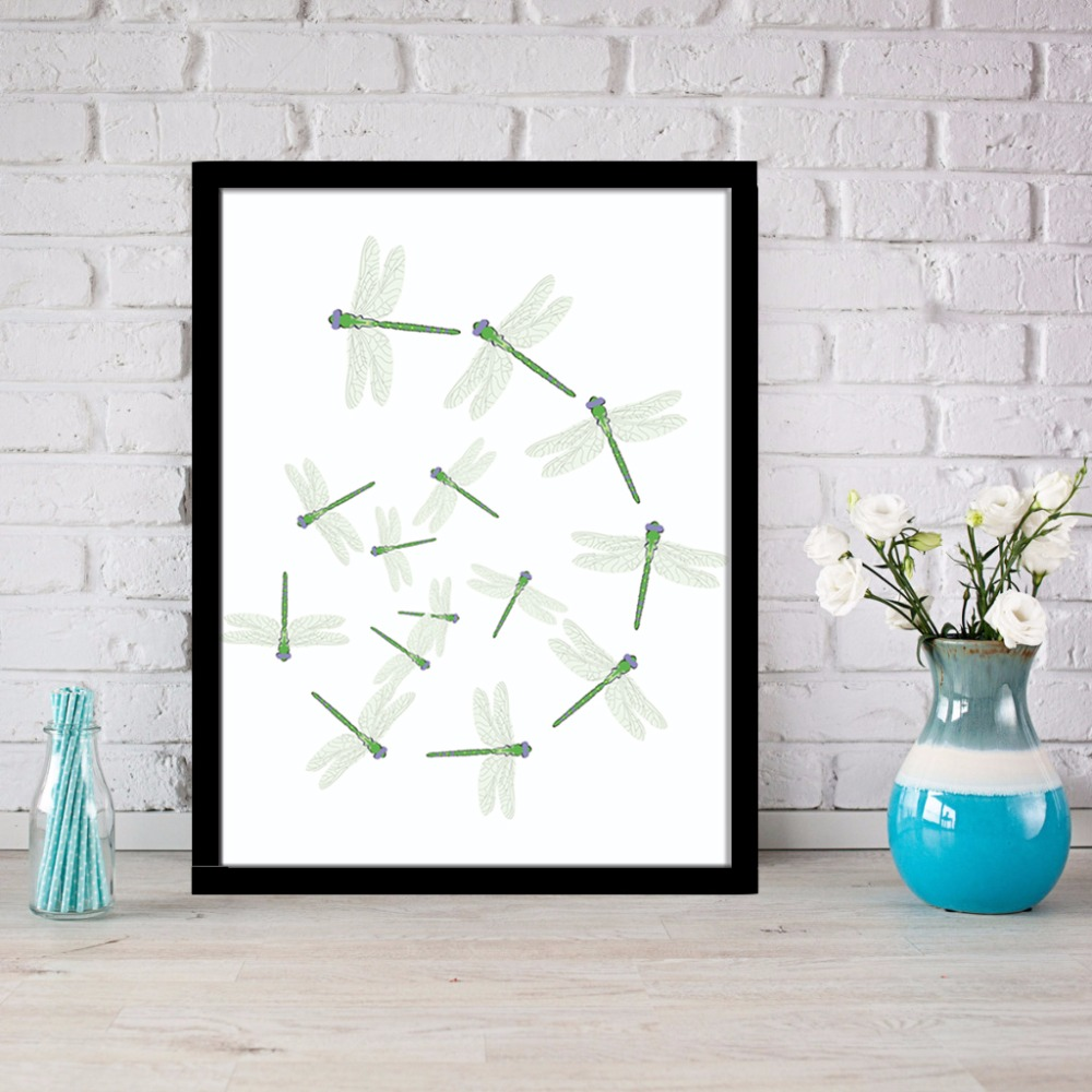 Abstract Dragonfly Canvas Painting Wall Art Printable Affordable Home Decor Dragonflies Print Unframed LZ839 In Calligraphy From