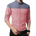 Hot sell men spring shirts full sleeve turn-down collar slim fit business clothes brand high quality patchwork dress shirts new