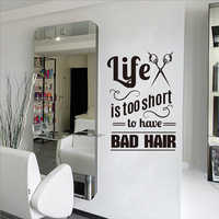 New arrival Hair Salon Vinyl Wall Decals Hairdresser Stylist Wall Stickers For Barbershop Quote Art Removable Mural Wall Decor