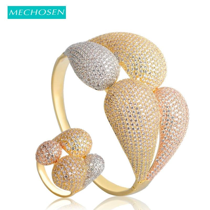 MECHOSEN 3 Tones Mixed Large Bangle Ring Sets Full Cubic Zirconia International Celebrity Banquet Jewelry Sets Brazalete Mujer