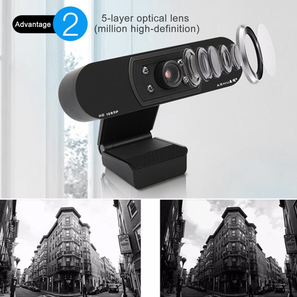 1080P Wide Compatibility USB Webcam with 5 Layer Optical Lens and Built-in Noise Reduction Microphone 2
