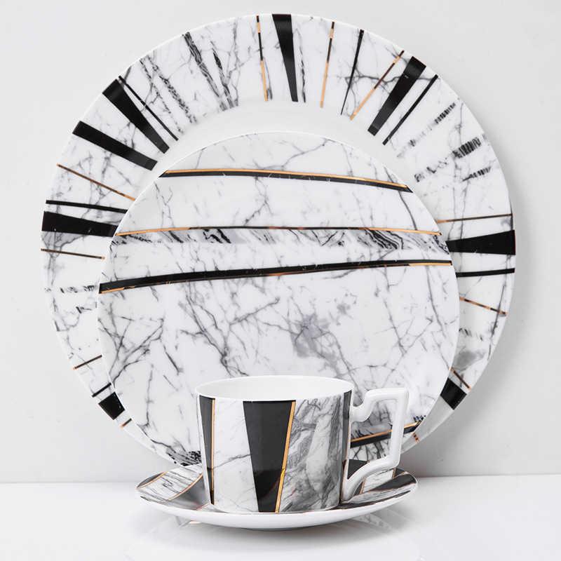 Wourmth europeu 4 pçs de mármore cerâmica redonda prato jantar conjunto osso china xícara café bife sobremesa porcelana pratos louça conjunto