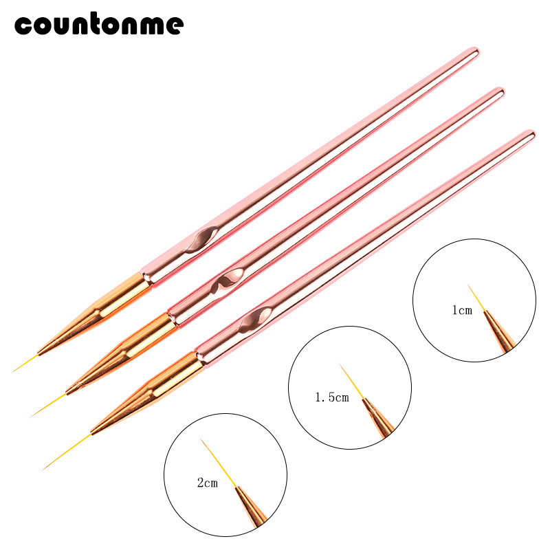 3pcs/set Nail Art Brush Liner Painting Pen Acrylic UV Gel Polish Brushes Drawing Flower Line Grid 3D Tips French Design Manicure