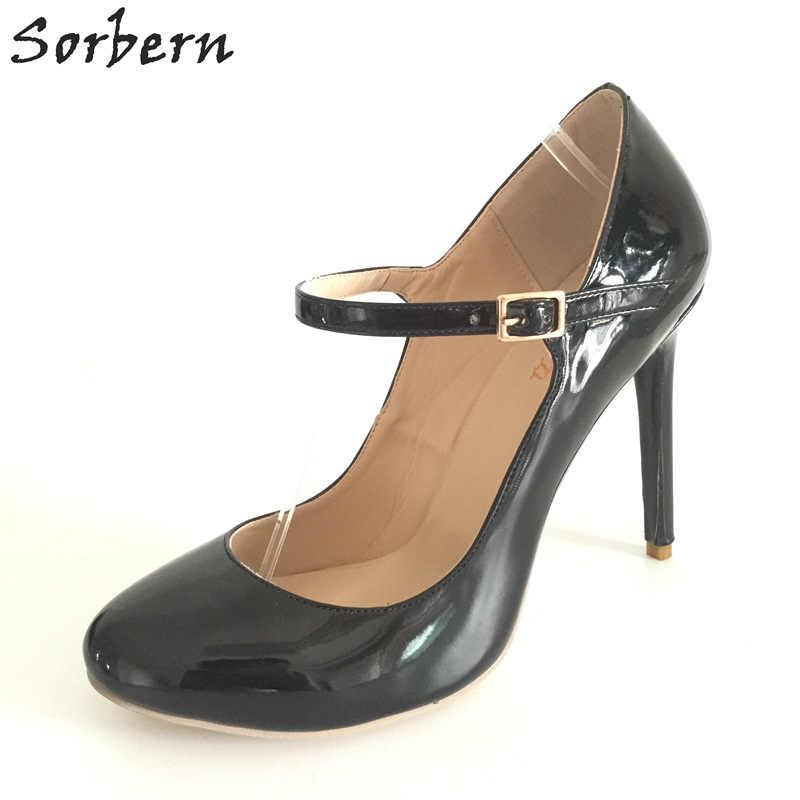70f7b466f984 Sorbern New Black Patent Leather Round Toe Mary Janes Thin High Heels  Runway Shoes Dress Ol