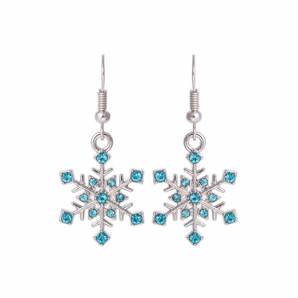 Teamer blau und grün kristall schnee blume damenmode baumeln und - Modeschmuck - Foto 2