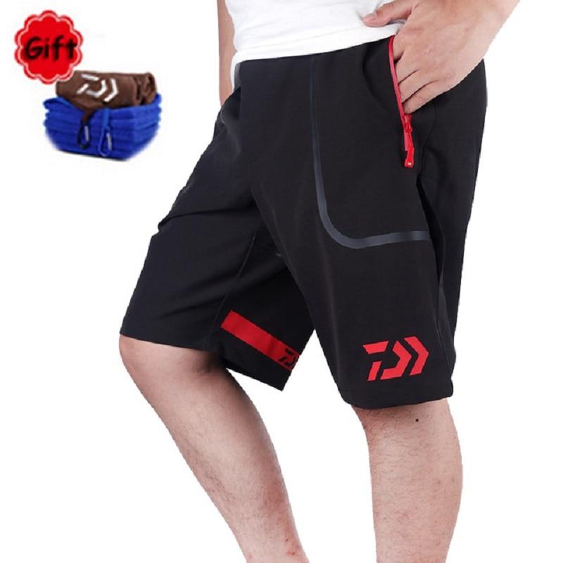 Outdoor Summer Men Short Daiwa Fishing Pant Fishing Clothing Big Size Hiking Climbing Sports Pants Breathable Free Gift Towel