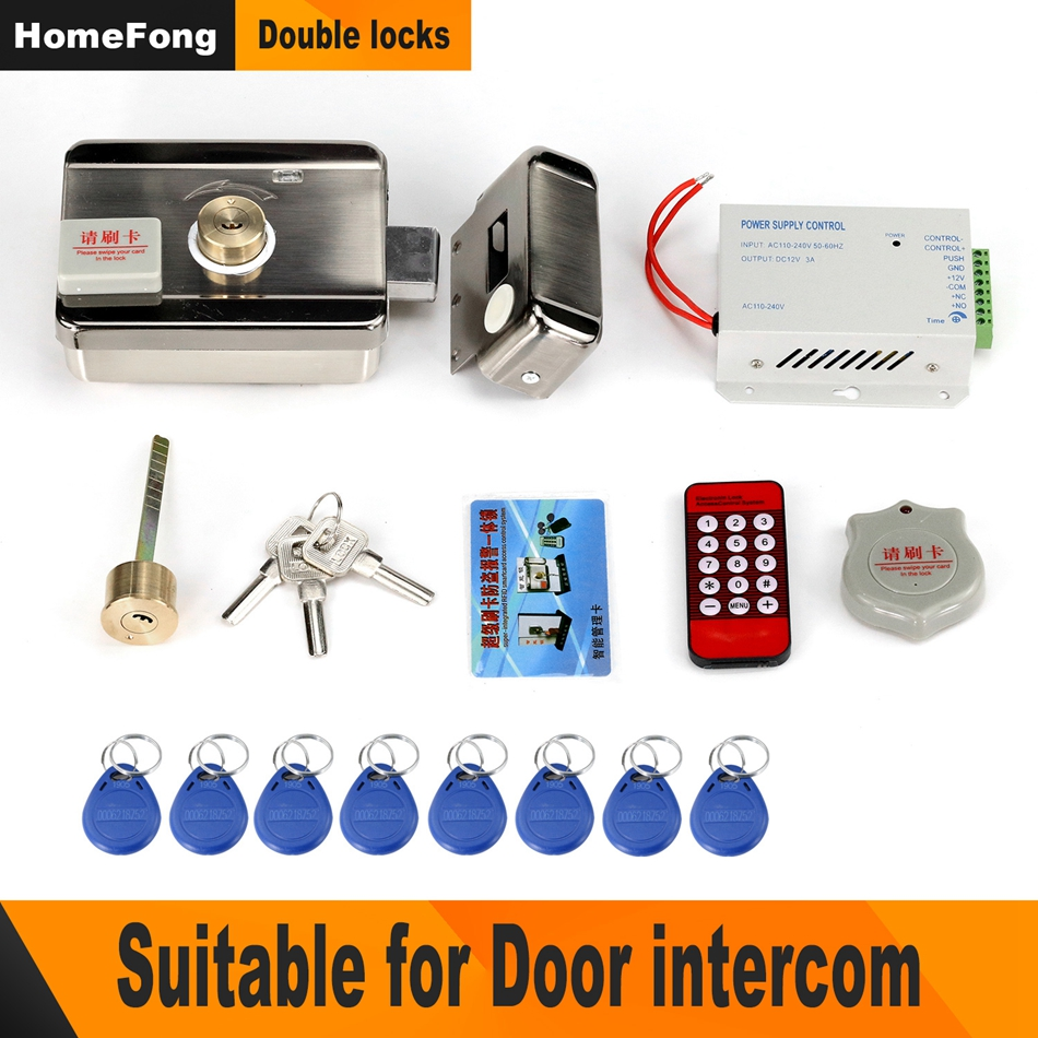 Homefong Electronic Door Lock for Video Intercom Video Door Phone Wired Remote Unlock  with Smart Card  Home Security System Kit-in Electric Lock from Security & Protection