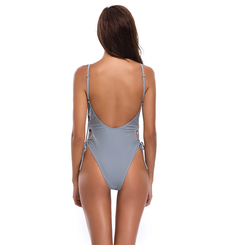 New Sexy Solid Color Swimsuit Women One Piece Suit Side Bandage Hollow Swimwear S XL Girl Backless Padded Bathing Suit Monokini in Body Suits from Sports Entertainment