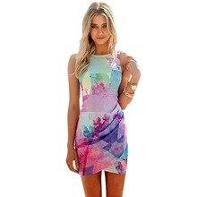 2017 Summer Sexy Women Girl Floral Printed Dress Slim Ball Gown Mini Short Dress T55
