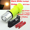 2015 New Waterproof CREE XM-L T6 2000LM Warm White Light Yellow LED Diving Flashlight & Charger & 2*Batteries Free Shipping